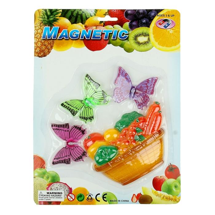 "Магнит ""Бабочки у корзинки с фруктами"" набор 4 шт, МИКС"