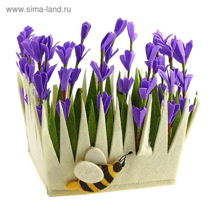 """Кашпо """"Лаванда и пчелка"""""""