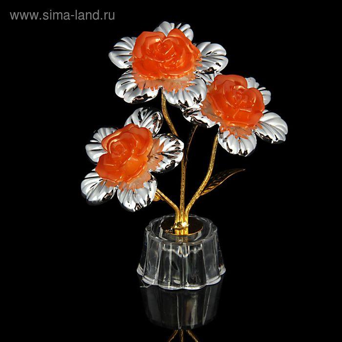 """Сувенир """"Цветок 3 белые розы с листьями"""" МИКС"""