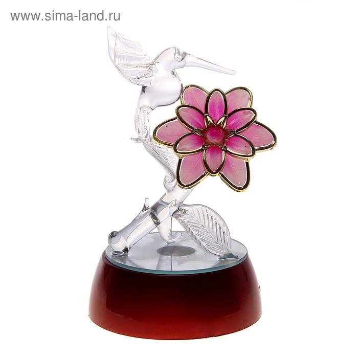 """Сувенир """"Колибри на цветке"""" свет"""
