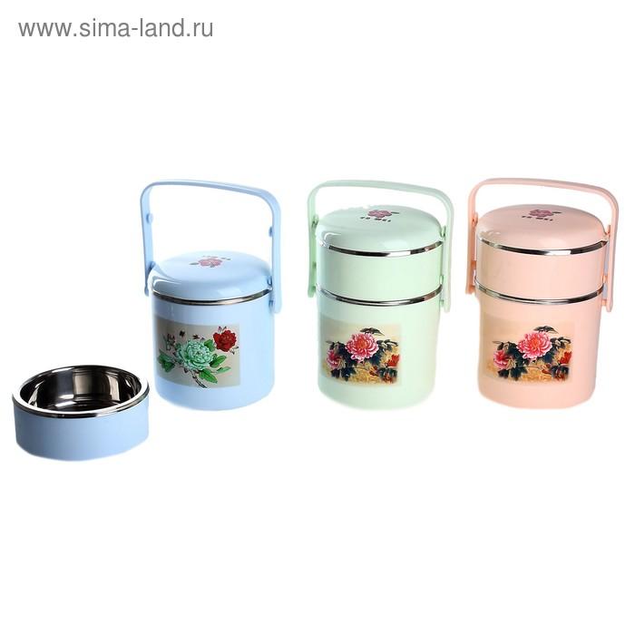 """Термос суповой """"Пикник"""" (внутри металл) 1,2 л, 2 тарелки, цвета МИКС"""