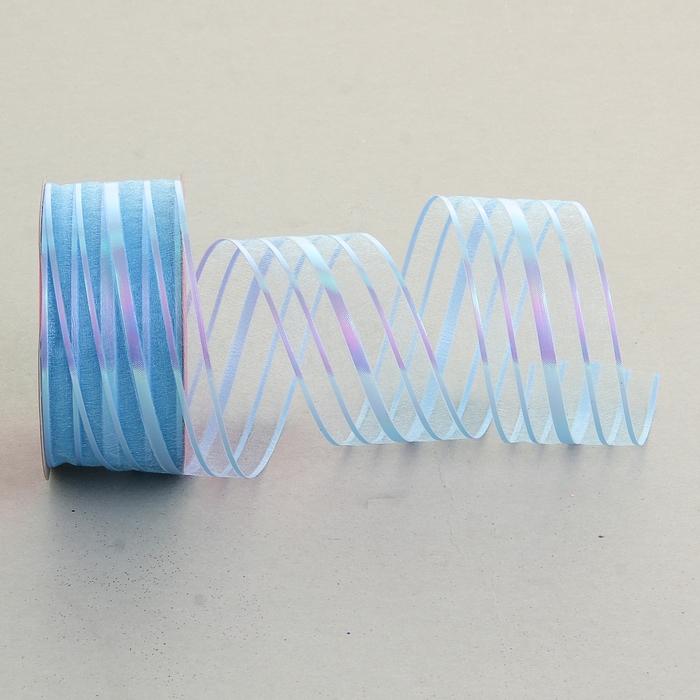 Лента упаковочная с полосой, цвет голубой
