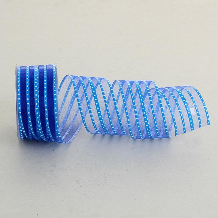 """Лента упаковочная """"Горох"""", цвет синий"""