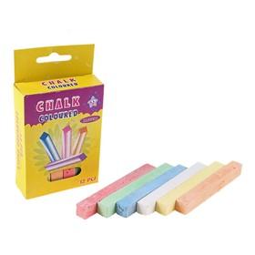 Мел школьный цветной набор 12цв квадратный беспыльный в картон коробке