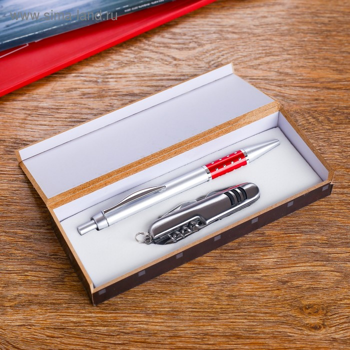 Набор подарочный 2в1: ручка, нож 5в1, цвета микс