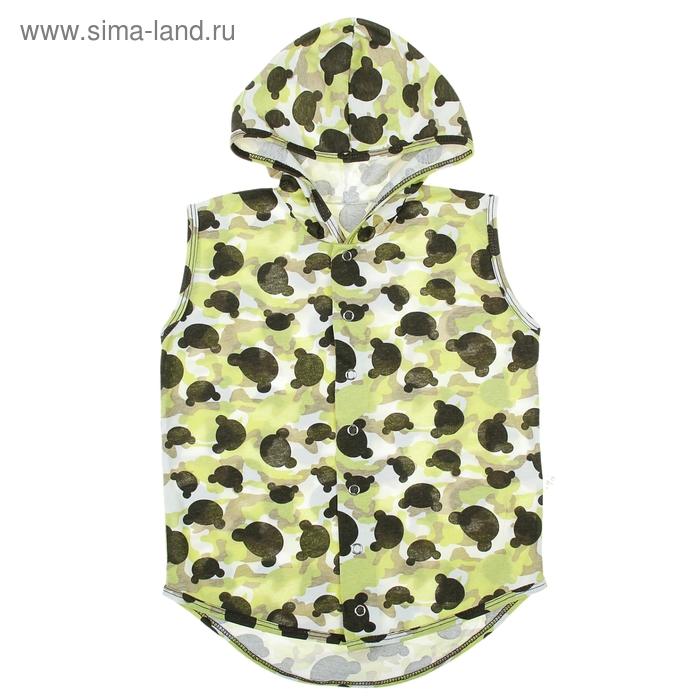 Безрукавка с капюшоном детская, рост 80 см (52), на 1 год, цвет зеленый