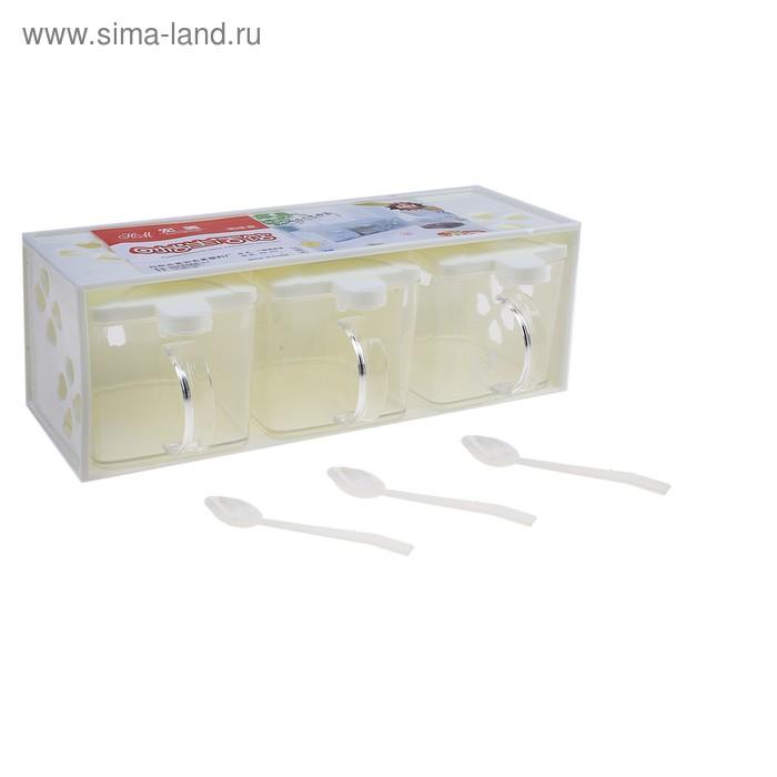 Набор банок для сыпучих с ложками, на подставке, 3 шт: 21,5х10х8см, цвет МИКС