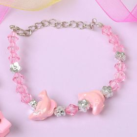 Браслет детский 'Выбражулька' дельфины, цвет розовый Ош