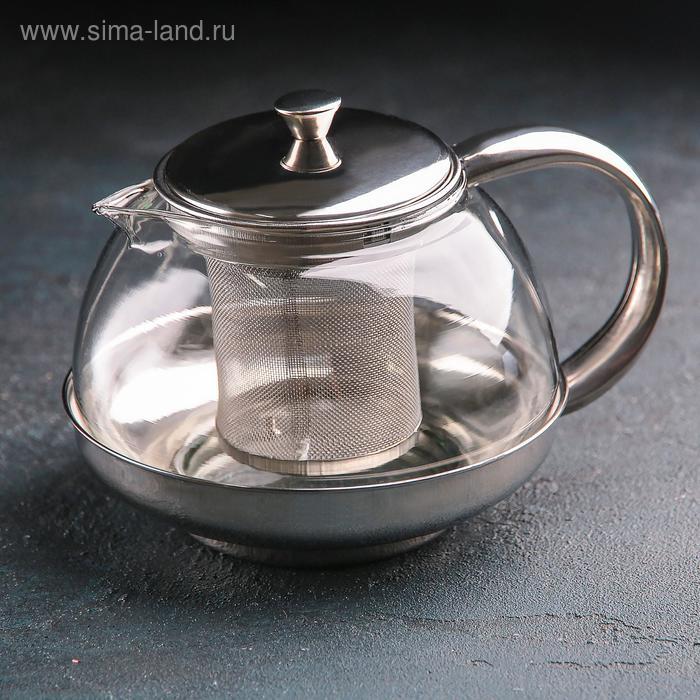 """Чайник заварочный 800 мл """"Металлик"""", круглый"""
