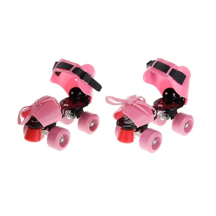 Ролики для обуви раздвижные, размер 19-25 см, колеса РVC d = 50 мм, цвет розовый