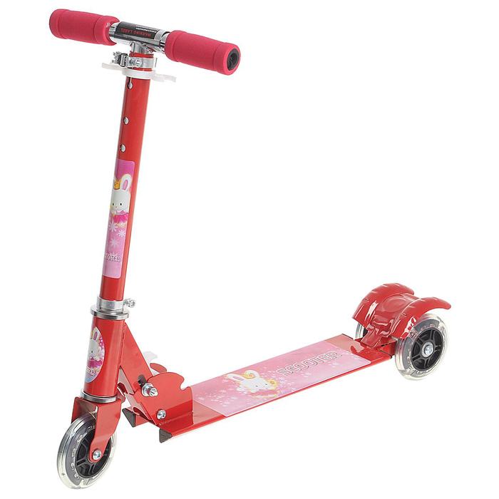 Самокат стальной ОТ-508, три колеса PVC, d=100 мм, светящиеся, цвет красный, до 40 кг