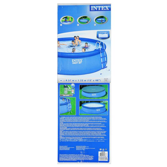 Бассейн надувной Easy Set, 457х122 см, фильтр-насос, лестница, тент, подстилка 28168 INTEX