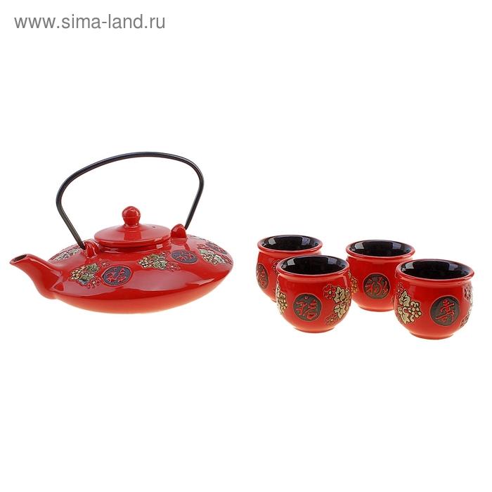 """Набор для чайной церемонии 5 предметов """"Китайская печать"""" (чайник 800 мл, чашка 70 мл)"""