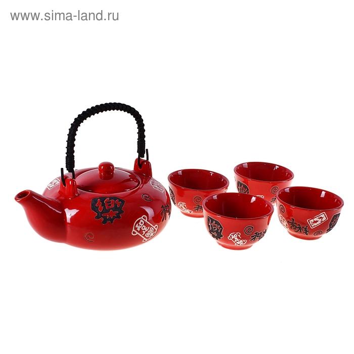 """Набор для чайной церемонии 5 предметов """"Иероглиф"""" (чайник 400 мл, чашка 50 мл)"""