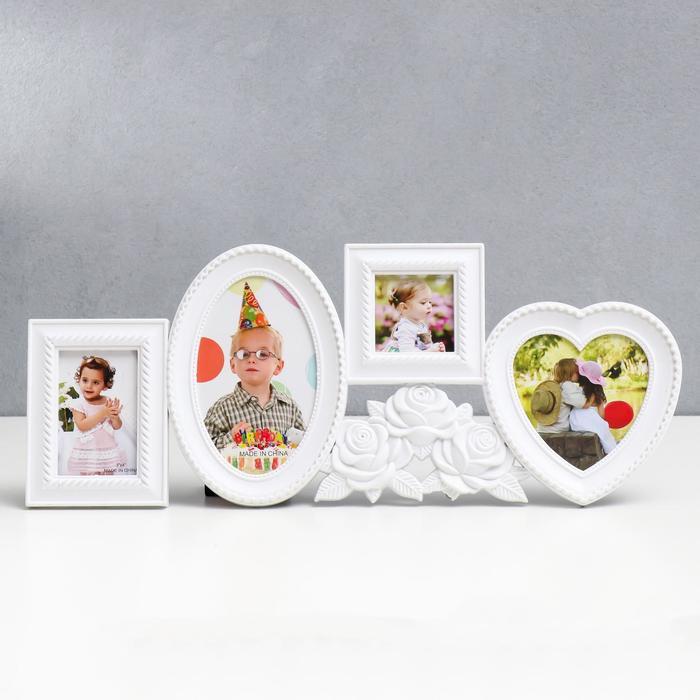 """Фоторамка на 4 фото """"Белые розы"""" 6x6 см, 8x5 см, 10x9 см, 10x15 см"""