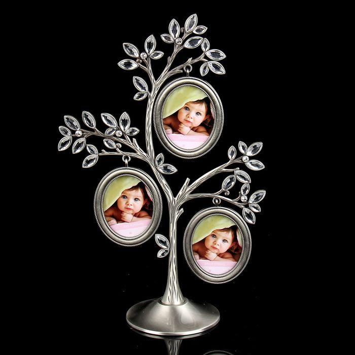 """Фоторамка на 3 фото 5х6 см """"Дерево с кристальными листьями"""""""