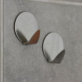 Набор крючков металлических на липучке, 2 шт 'Круг' Ош