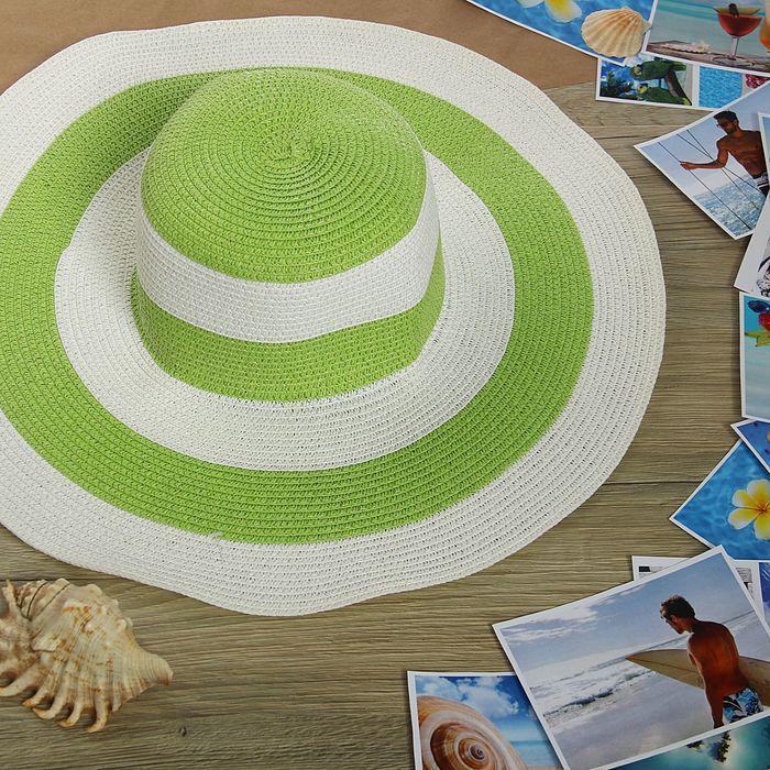 "Шляпа пляжная ""Лайма"", цвет зелено-белый, обхват головы 58 см, ширина полей 11 см"
