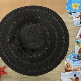 """Шляпа пляжная """"Бант"""" с золотой тесьмой, цвет чёрный, обхват головы 58 см, ширина полей 14 см"""
