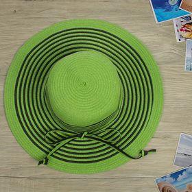 """Шляпа пляжная """"Таисия"""", цвет зелено-чёрный, обхват головы 58 см, ширина полей 11 см"""