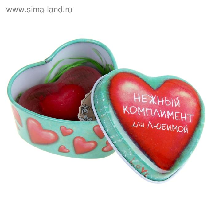 """Набор в шкатулке """"Нежный комплимент"""": мыло в форме сердца красное"""