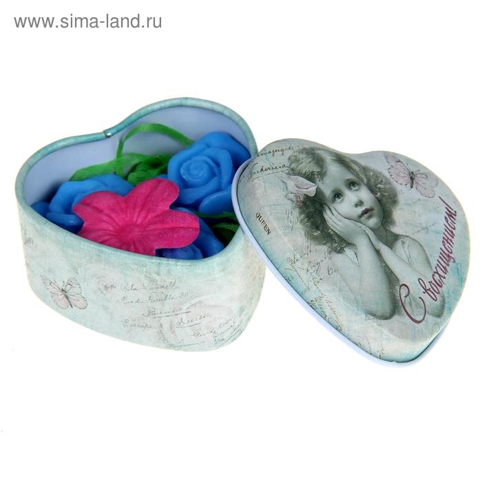 """Набор в шкатулке в форме сердца """"С восхищением"""": мыльные лепестки синие 3 шт. и цветочек 1 шт."""