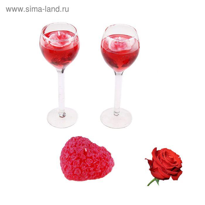 """Набор свечей (2 гелевых + 1 восковая) """"Восторг"""", цвет красный, аромат роза"""