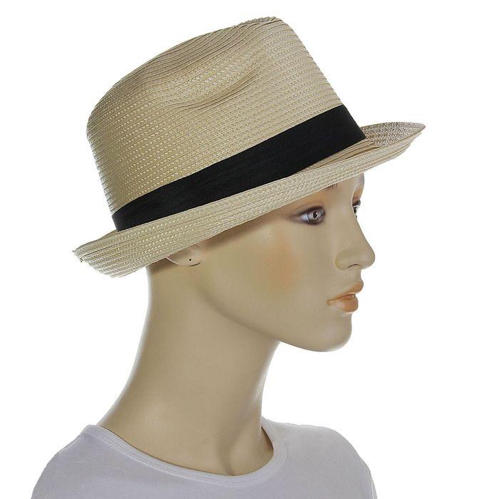 """Шляпа """"Классика"""", цвет бежевый, обхват головы 58 см, ширина полей 5 см"""
