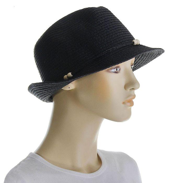 Шляпа со шнурком, цвет чёрный, обхват головы 58 см, ширина полей 4 см