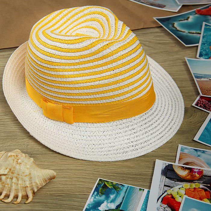 """Шляпа """"Полоска"""", цвет бело-жёлтый, обхват головы 58 см, ширина полей 5 см"""
