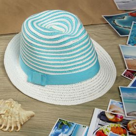 """Шляпа """"Полоска"""", цвет бело-голубой, обхват головы 58 см, ширина полей 5 см"""