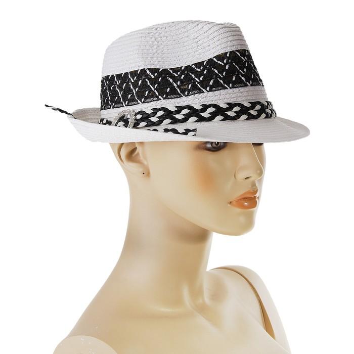 """Шляпа """"Гламур"""", цвет белый, обхват головы 58 см, ширина полей 4 см"""