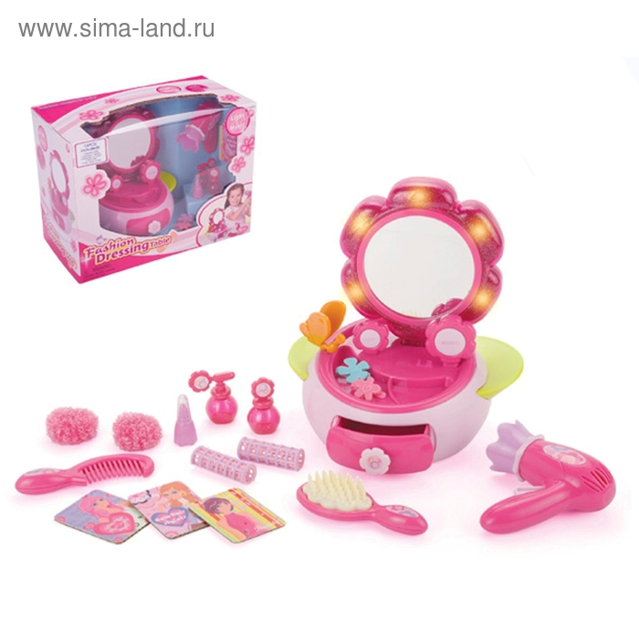 Набор аксессуаров для девочек в шкатулке, световые и звуковые эффекты, работает от батареек