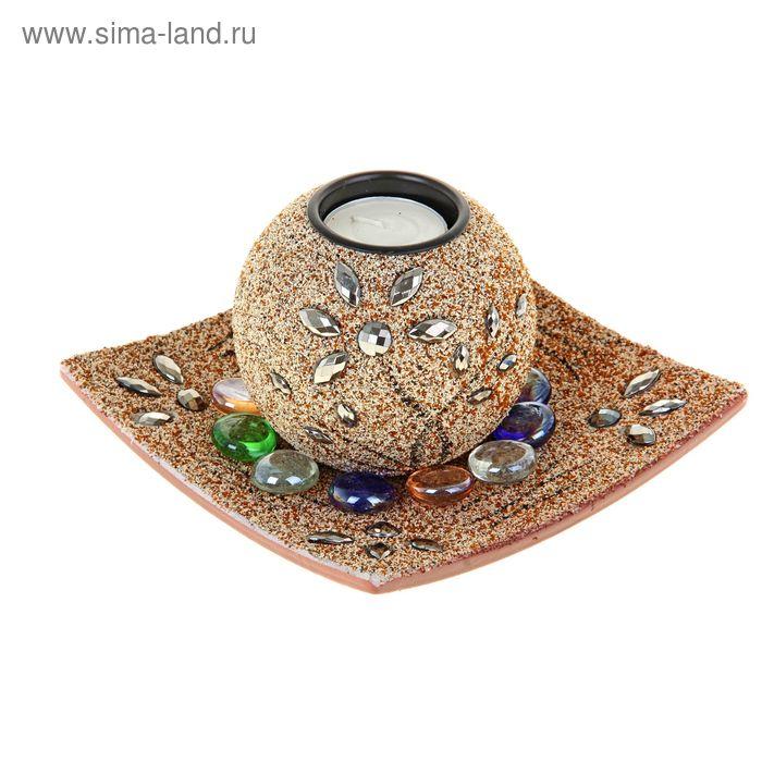 """Набор """"Цветение"""": подсвечник со свечой, подставка, декор, цвет песочный"""