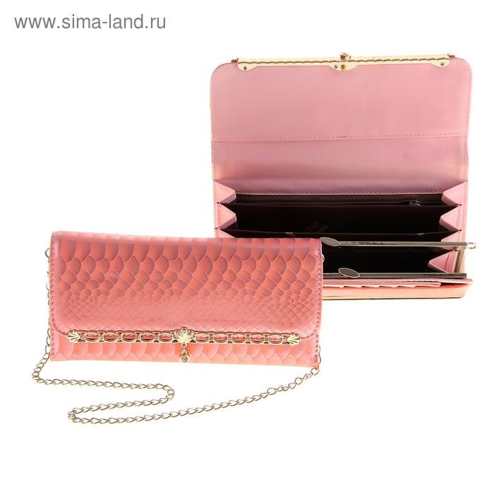 """Кошелек женский """"Цветок"""" рамка, 4 отдела, отдел для кредиток, на клапане, цвет розовый"""