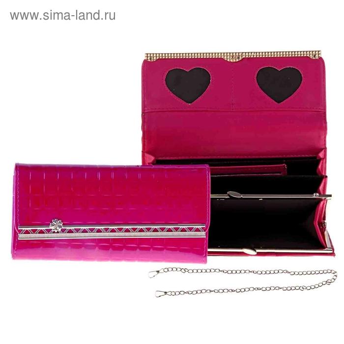 """Кошелек женский """"Ажур"""" 4 отдела, отдел для кредиток, рамка, на клапане, цвет ярко-розовый"""