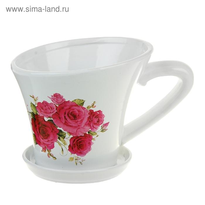 """Кашпо-чашка """"Розы"""" белое"""