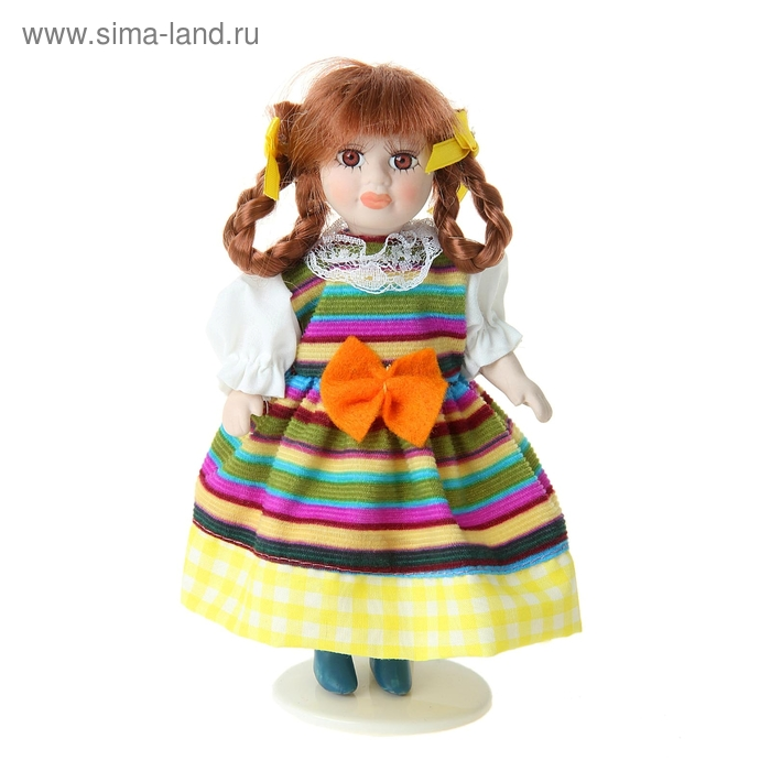 """Кукла коллекционная """"Танюша в ярком полосатом платье"""""""