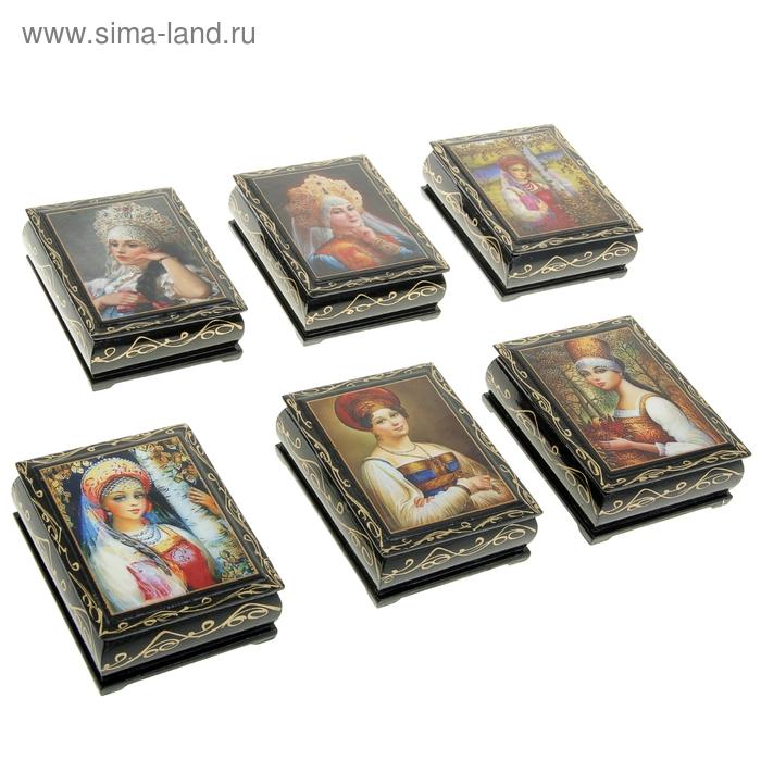 Шкатулка 8х10,5х3 см Портреты лаковая миниатюра микс дерево
