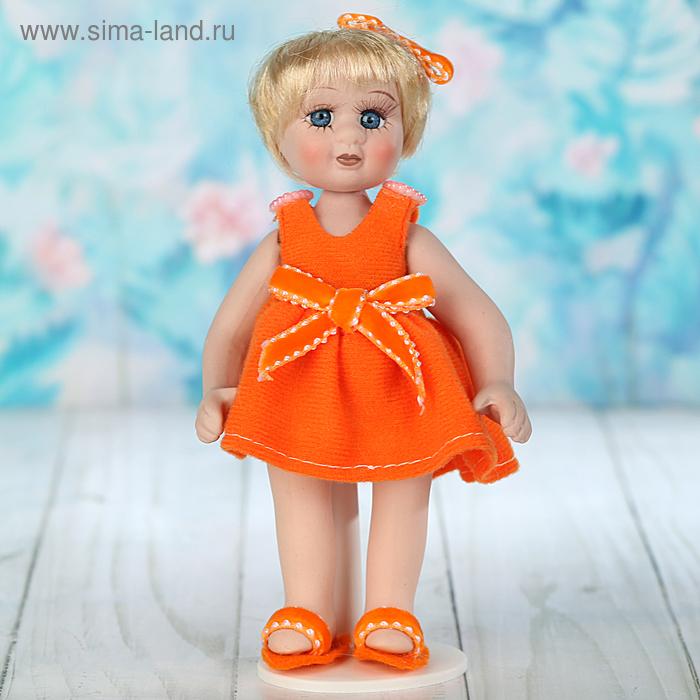 """Кукла коллекционная """"Лерочка в оранжевом платье"""""""