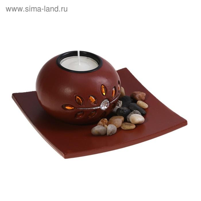 """Набор """"Соцветие"""": подсвечник со свечой, подставка, декор, цвет коричневый"""