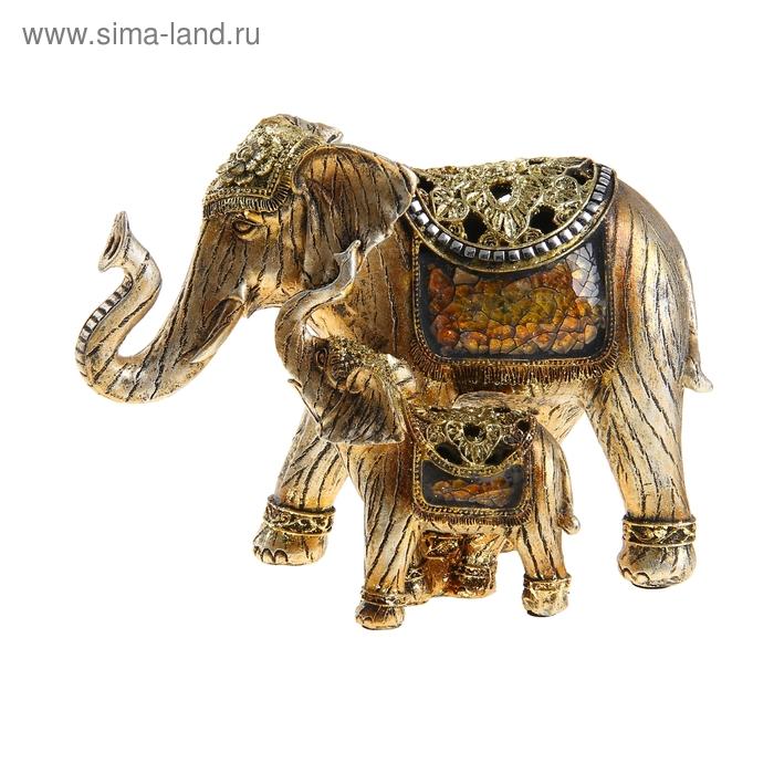"""Сувенир """"Слон со слонёнком в декоративных попонах"""""""