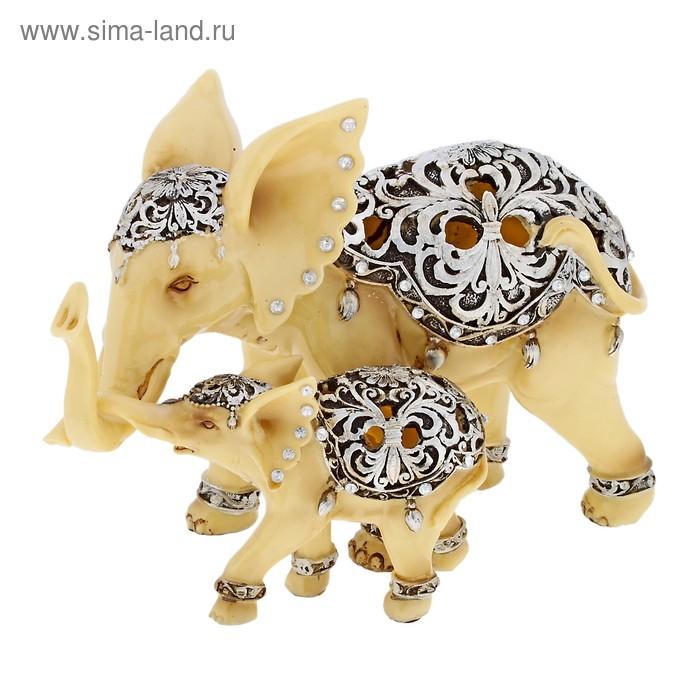 """Сувенир """"Слон со слонёнком в декоративных попонах"""" кремовый"""