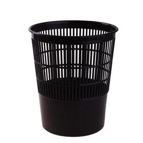 Корзина для бумаг 14 литров, сетчатая, черная, высота 300 мм