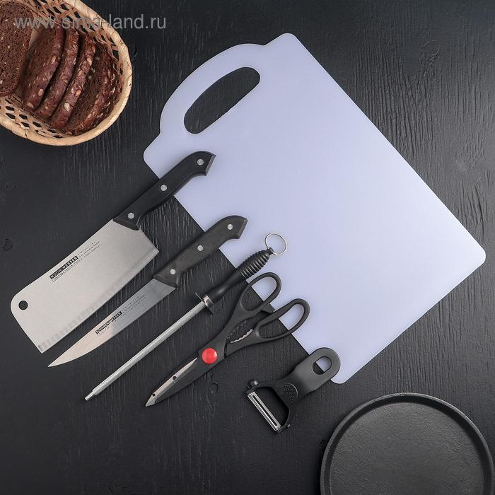 Набор кухонный 6 предметов: 2 ножа+овощечистка+ножницы+разделочная доска+ножеточка