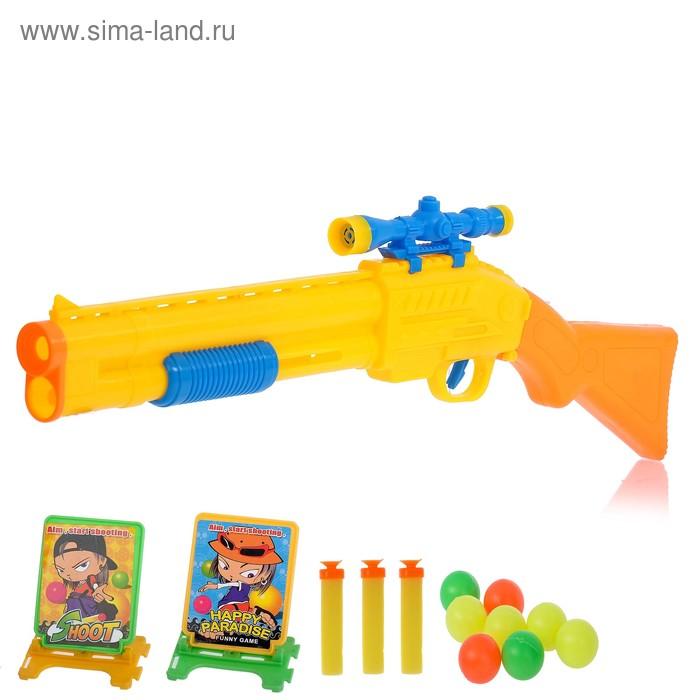 """Ружьё """"Охотник"""", стреляет мягкими пулями и шариками, с мишенями, цвета МИКС"""