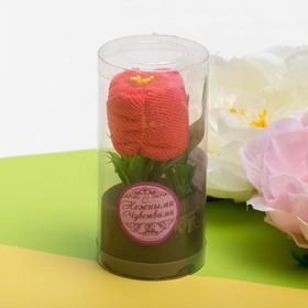 Сувенирное полотенце Розовая роза 20*20 см