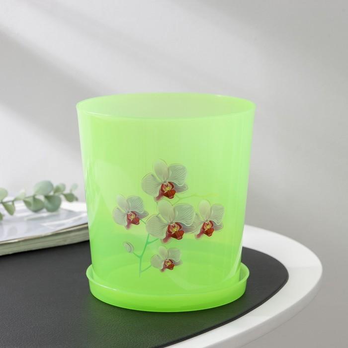 Горшок для орхидей 1,8 л, поддон, прозрачно-зеленый, рисунок МИКС
