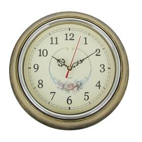 "Часы настенные круглые ""Розочка"", d=25 см, рама под бронзу"