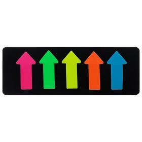 Блок-закладки с липким краем пластик 25л Стрелки 5*15мм*51мм флюор МИКС 5цв Ош